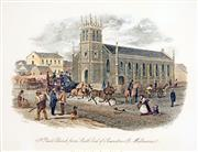 Sale 8549A - Lot 5100 - Samuel Thomas Gill (1818 - 1880) - St. Pauls Church from South end of Swanston St. Melbourne 16.5 x 21cm (mount size: 31.5 x 35cm)