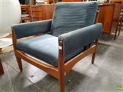 Sale 8607 - Lot 1048 - Teak Armchair with Teal Blue Velvet Upholstery