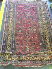 Sale 8634 - Lot 1089 - Unusual Persian Tribal Wool Carpet, with unusual scattered motifs, in red, blue & yellow tones (faults)
