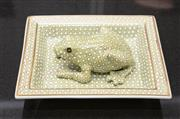 Sale 8709 - Lot 1055 - A decorative pin dish and matching frog in light olive green, length of dish approx 19cm