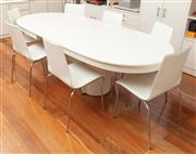 Sale 8855H - Lot 14 - A white oval 1980s Arte extension dining table, together with eight white upholstered and chrome dining chairs from Fanuli