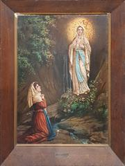 Sale 8998 - Lot 2030 - An Early Religious Oil Painting on Tin of Our Lady of Lourdes, 70 x 55cm -