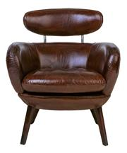 Sale 9010F - Lot 10 - A PAIR OF HAND AGED TOP GRAIN LEATHER CIGAR CHAIRS WITH HEADREST FEATURE H:77 W:72 D:72cm