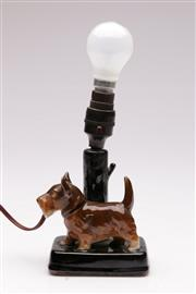 Sale 9073 - Lot 84 - Terrier Themed Table Lamp H: 28cm (Some Repairs, loose shade)
