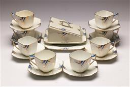 Sale 9110 - Lot 8 - An Art Deco 8 person tea suite Elsia Inc cake dish and butter dish (repairs to handle of 1 cup) - side plates included (not in photo)