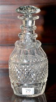 Sale 7997 - Lot 79 - AN EARLY VICTORIAN HAND CUT LEAD CRYSTAL TRIPLE RING NECK DECANTER