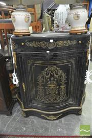 Sale 8326 - Lot 1284 - Ebonised Serpentine Front Cabinet