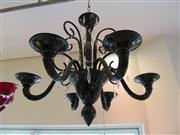Sale 8402B - Lot 67 - Murano Bach Contemporary 6-Branch Chandelier in Black