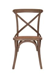 Sale 8444A - Lot 98 - A set of 8 solid elm cross back dining chairs finished with a light grey wash with light  tint natural rattan seats  W 50 x D 46 x...