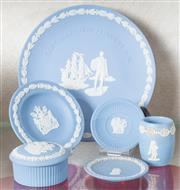 Sale 8515A - Lot 27 - A quantity of Wedgwood blue jasper wares including a Flinders commemorative plate and other dishes