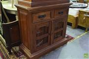 Sale 8550 - Lot 1216 - Indonesian Style Hall Cabinet with Two Drawers & Doors