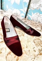 Sale 8577 - Lot 86 - A pair of burgandy velvet slipper style shoes with satin detail, made in Spain, size 7, Condition: Excellent