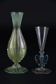 Sale 8887A - Lot 684 - Small 19th Century Venetian Glass Bud Vase with Green Inclusions together with a Miniature Goblet with Gold Flaked rims (H12cm)