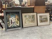 Sale 9069 - Lot 2055A - Group of (3) Artworks: Urban Street Scene and Commuters; Countryscape watercolour by E Wollford and Decortive Print by Carlyle Jacks...