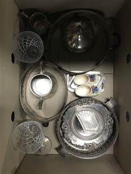 Sale 9106 - Lot 2411 - Box of silver plated wares together with other sundries