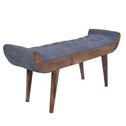 Sale 9140F - Lot 168 - A curved linen button top bench with fruitwood frame. Dimensions: W125 x D51 x H38 cm