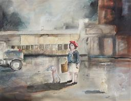 Sale 9187JM - Lot 5002 - MELISSA EGAN (1959 - ) Rainy Day in the City watercolour and ink 54.5 x 71.5 cm (frame: 59 x 75 x 3 cm) signed lower right