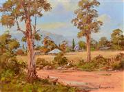 Sale 8323A - Lot 13 - John Hingerty (1930 - ) - By the Track 38 x 50.5cm