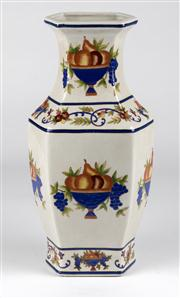 Sale 8350L - Lot 33 - A French provincial style hand painted vase with fruit motif, H 36cm, RRP $ 360