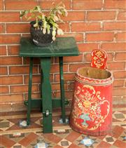 Sale 8418A - Lot 6 - A green painted timber square top jardiniere stand H 64cm, together with a red and floral painted stick stand