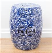 Sale 8471H - Lot 21 - A Chinese blue and white ceramic drum stool with peony decoration, H 50cm