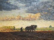 Sale 8510 - Lot 593 - Artist Unknown (C20th) - Untitled (Horses Ploughing a Field) 57 x 77cm
