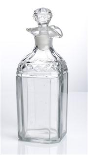 Sale 8528A - Lot 55 - A late Georgian square form decanter with cut band, lip and original stopper, total H 21cm