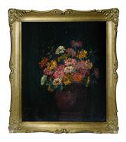 Sale 8828A - Lot 67 - Antique European school still life of zinnias, oil on canvas unsigned. 70 x 59 cm