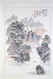 Sale 8835 - Lot 277 - Chinese Scroll Featuring Mountains