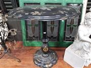 Sale 8925 - Lot 1048 - A Victorian papier mache and inlaid mother of pearl occasional table with oak leaf detail and scalloped edge (damaged)