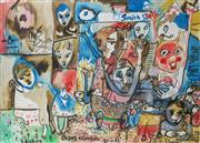 Sale 9002A - Lot 5033 - Barry Dickins (1949 - ) - Chaos & Comfort in Fitzroy, c2003 50 x 60 cm