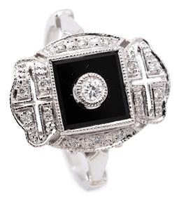 Sale 9132 - Lot 420 - A DECO STYLE ONYX AND DIAMOND RING; set in 9ct white gold with a round brilliant cut diamond above a square onyx plaque to decorativ...