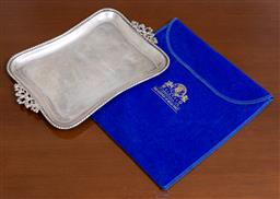 Sale 9140H - Lot 70 - A 925 sterling silver twin handled serving tray, Width 25cm, Weight 286g