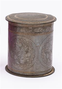 Sale 9170H - Lot 72 - An Indonesian pewter interlocking container with finely engraved floral motif, Height 8cm, marked Banka