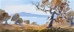 Sale 9216A - Lot 5062 - ALAN GROSVENOR (1925 - 2012) Lake Jindabyne, 1977 oil on board 16 x 36.5 cm (frame: 29 x 49 x 4 cm) signed lower right, dated and ti...