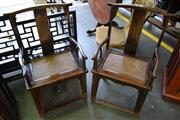 Sale 8081 - Lot 91 - Late Qing to Republic Wooden and Rattan Chairs x 2