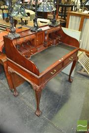 Sale 8337 - Lot 1056 - Reproduction Fitted Writing Desk w Leather Insert Top Raised on Claw Feet together with Balloon Back Chair