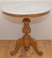 Sale 8380A - Lot 50 - A marble top circular occasional table with twisted baluster tripod base, D 70 x H 76cm