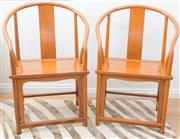 Sale 8471H - Lot 19 - A pair of Chinese timber horseshoe scholars chairs, H of back 104 x W 70cm