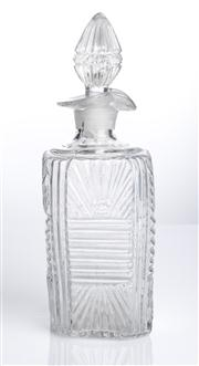 Sale 8528A - Lot 58 - A moulded glass square bottle with ribbed and fan shaped decoration, lip, and stopper, total H 20cm