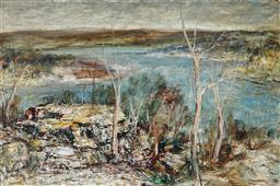 Sale 8958A - Lot 5024 - George Feather Lawrence (1901 - 1981) - Hawkesbury Landscape, 1972 59.5 x 90 cm (frame: 79 x 109 x 6 cm)