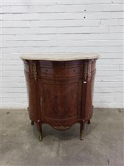 Sale 9085 - Lot 1069 - French Style Veneered Side Cabinet, with serpentine shaped stone top, brass mounts, a drawer & timber panel door - key in office (h:...