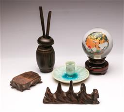Sale 9104 - Lot 33 - A Chinese Painted Orb on Spinning Timber Stand together with other Treen and Pottery Candlestick