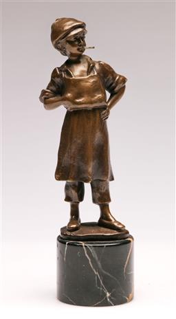 Sale 9128 - Lot 49 - A bronze figure of a girl with cigarette on marble base (H 19cm)