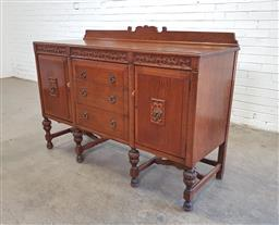 Sale 9151 - Lot 1292 - Timber sideboard with 3 drawers & 2 doors (h110 x w153 x 57cm)