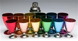 Sale 9168 - Lot 3 - A set of six anodised goblets (H 13cm) together with another similar set (H 11cm) together with a cocktail shaker