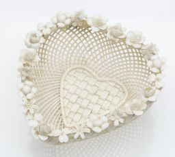 Sale 9150J - Lot 33 - A first period Belleek 4 strand basket weave heart shaped dish C: 1868 - 1890.Impressed first mark, Belleek Fermanagh Ireland. Decor...