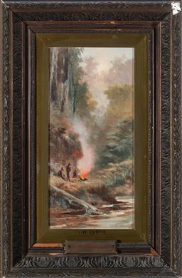 Sale 9190H - Lot 399 - James Waltham Curtis By the Camp Fire, Oil on board, 37x17cmsigned lower right.