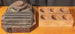 Sale 9240 - Lot 1011 - A timber mould or pattern together with a pair of demilune coin trays,  pattern length 34cm