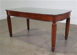Sale 9255 - Lot 1257 - Vintage dining table on reeded legs and glass top (h:78 x w:153 x d:90cm)